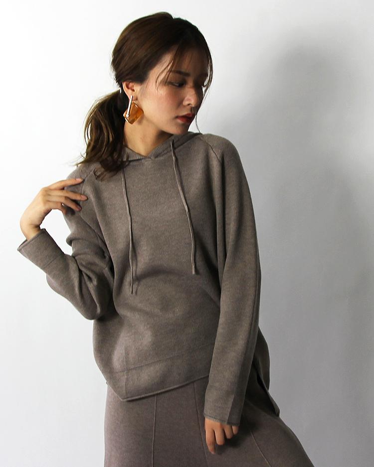knit hoodie tops