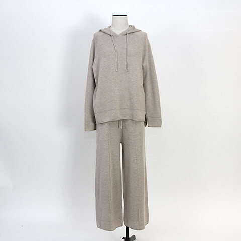 piping wide knit pants